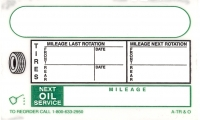 Oil Change & Tire Rotation Label